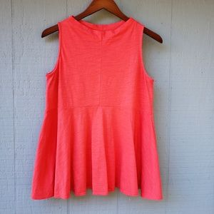 Deletta Mock Neck Sway Tank Top Coral Pink Small